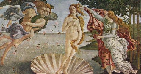 NASCIMENTO DE VÊNUS (1485) ¨A deusa de Botticelli incorpora o ideal de beleza do Renascimento: seus membros claros são longos e elegantes, os ombros se inclinam, a barriga é sensualmente arredondada e sua expressão de rosto refinado apresenta algo de etéreo. A pintura pode ser vista como a manifestação física de uma beleza considerada divina e perfeita¨¨.
